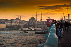 Fischer auf Galata-Brücke in Istanbul Stockbild
