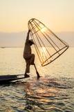 Fischer auf Inle See, Shan, Myanmar Lizenzfreies Stockfoto