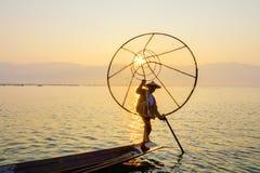 Fischer auf Inle See, Shan, Myanmar Stockfotografie