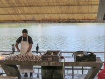 Fischer auf Markt Stockbild