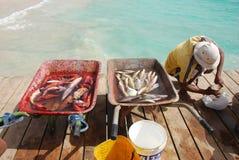 Fischer bei Santa Maria - Salz-Insel - Kap-Verde Lizenzfreie Stockfotos