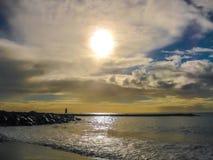 Fischer bei Sonnenuntergang Stockfotos