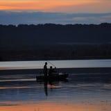 Fischer, Boot, Angelrute, über See, Frankreich, Sonnenuntergang Stockfoto