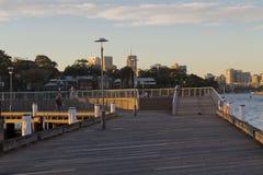 Fischer an Darling Island-Kai in Sydney mit Wolkenkratzern herein Lizenzfreie Stockbilder