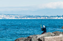 Fischer in der Aktion stockbild