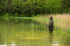 Fischer in der Aktion Stockfotografie