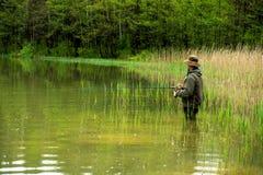 Fischer in der Aktion Lizenzfreies Stockbild