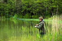 Fischer in der Aktion Lizenzfreies Stockfoto