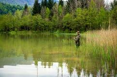 Fischer in der Aktion Stockfoto