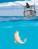 Fischer, der einen Fang winkelt Stockbilder