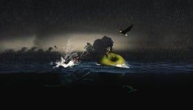 Fischer fängt Monster auf Apfel Stockfotografie