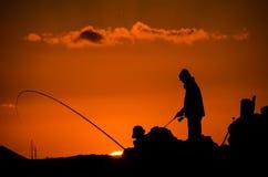 Fischer Fishing Rod Silhouette Stockfotografie