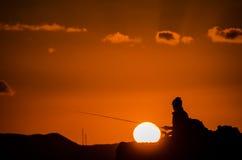 Fischer Fishing Rod Silhouette Lizenzfreie Stockfotografie