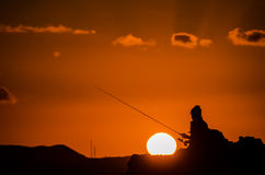 Fischer Fishing Rod Silhouette Stockfoto