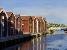 Fischer-Häuser (Hudiksvall) Stockfotos