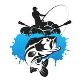 Fischer im aufblasbaren Boot lizenzfreie abbildung