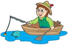 Fischer im Boot lizenzfreie abbildung