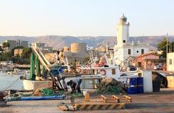Fischer im Hafen von Manfredonia, Italien Stockfotografie