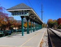 Fischer, Indiana-Bahnstation Lizenzfreies Stockbild