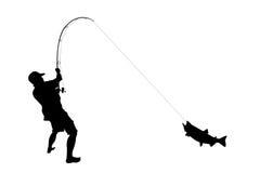 Fischer mit einem Fisch Stockbild