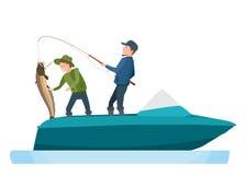 Fischer nehmen die Fische, gefangen auf dem Spinnen und setzen Wels in Boot ein lizenzfreie abbildung
