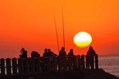 Fischer Pier Ocean Sunrise lizenzfreie stockfotografie