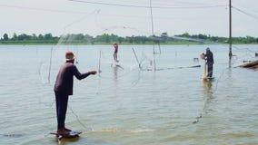 Fischer sind anziehende Fische mit Netzen stock video