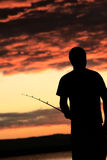 Fischer am Sonnenuntergang Stockfoto