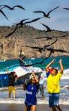 Fischer tragen die Behälter von Fischen zu den Käufern, gejagt durch das Vogelschauen lizenzfreie stockfotos