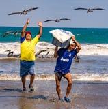 Fischer tragen die Behälter von Fischen zu den Käufern, gejagt durch das Vogelschauen lizenzfreies stockbild