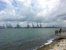 Fischer und Singapur-Hafen und -kräne Stockfotografie