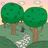 Fischer Walking im Wald Lizenzfreie Stockbilder