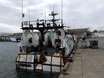 Fischerboot angekoppelt Stockfotografie