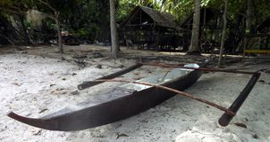 Fischerboot auf Panglao-Inselstrand Stockfotografie