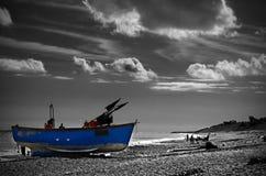 Fischerboot auf Ufer Stockfoto