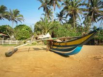 Fischerboot gegen Kokosnusspalmen auf dem Strand lizenzfreies stockfoto
