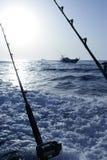 Fischerboot mit Gestänge und Bandspulen Stockfotos