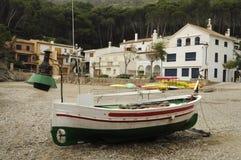 Fischerboot mit Lampe Stockfotografie