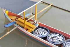 Fischerboot und Fische des asiatischen Auslegers stockfotografie