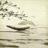 Fischerboot-und Mandelbaum-Kunst-Hintergrund Stockfotografie