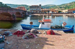 Fischerboot und Netze Lizenzfreie Stockfotografie
