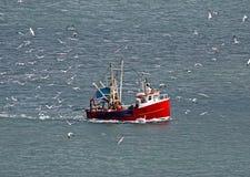 Fischerboot- und Seemöwemenge lizenzfreies stockfoto