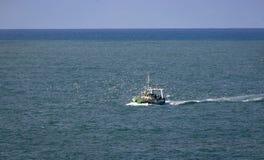 Fischerboot und Seemöwen im Nazare-Wasser lizenzfreie stockfotos