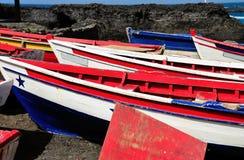 Fischerboote als Salinen Stockfotografie