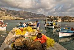Fischerboote auf dem Pier von Lefkos, Karpathos-Insel Stockfoto