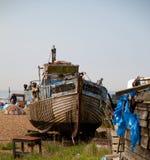 Fischerboote auf dem Stade stockfotos