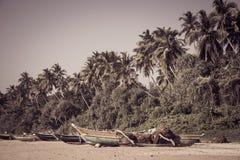 Fischerboote auf einem tropischen Strand mit Palmen im backgro Stockfotos