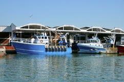 Fischerboote bei Dieppe in Frankreich Stockbild