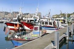 Fischerboote bei Dieppe in Frankreich Lizenzfreie Stockfotografie