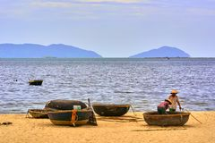 Fischerboote des Coracle Stockfotografie